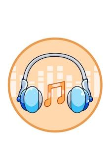 Auriculares con ilustración de dibujos animados de icono de notas musicales