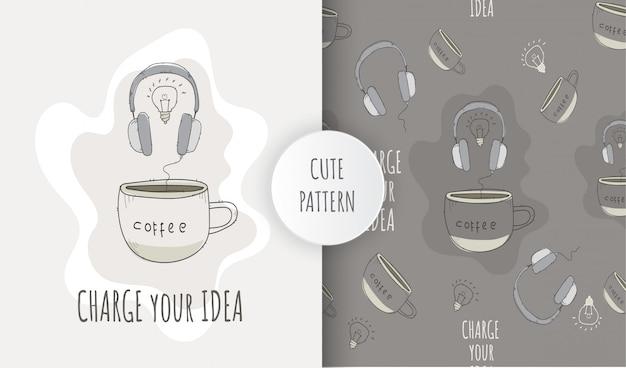 Auriculares de ilustración de patrones sin fisuras planas con taza de café