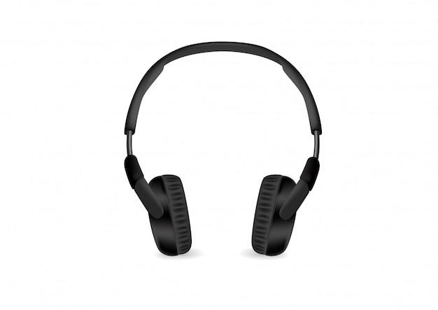 Auriculares inalámbricos modernos negros aislados sobre fondo blanco