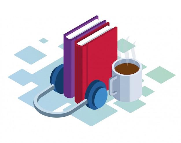 Auriculares, libros y taza de café sobre fondo blanco, colorido isométrico