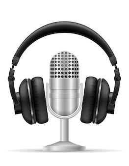 Auriculares y micrófono para ilustración de estudio de radio aislado sobre fondo blanco.