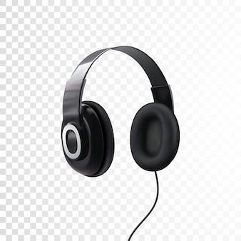 Auriculares negros 3d realista de auriculares aislados en blanco. dispositivo tecnológico para escuchar música.