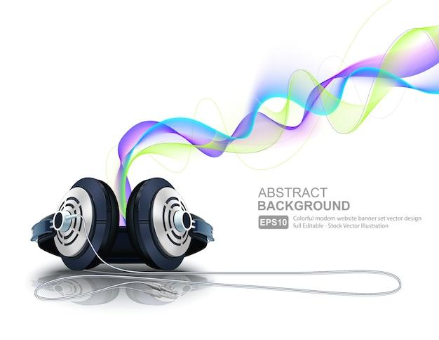 Auriculares con ondas coloridas