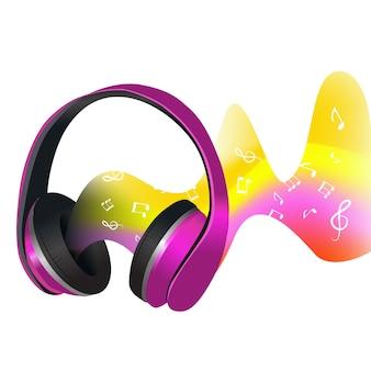 Auriculares y ondas de sonido.