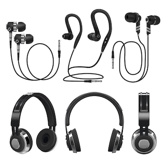 Auriculares realistas, auriculares de música inalámbricos y con cable. 3d ilustración vectorial aislado