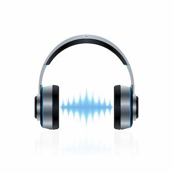 Auriculares realistas con ondas sonoras.