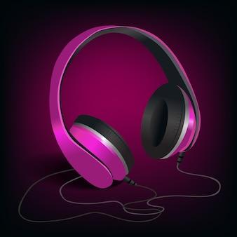 Auriculares rosa sobre morado