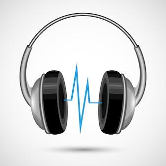 Auriculares con sonido abstracto aislado en fondo blanco ilustración vectorial cartel