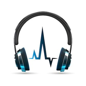 Auriculares de vector realista con onda de sonido aislado