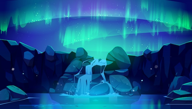 Aurora boreal en cielo nocturno y cascada