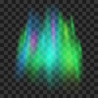 Aurora boreal sobre fondo transparente