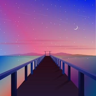 Aurora cielo con ilustración de muelle y puente
