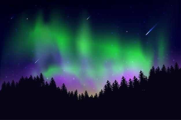 Aurora que pasó en el cielo por la noche con las estrellas del cielo.