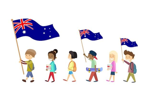 Australia día bandera nacional niños niños caminando