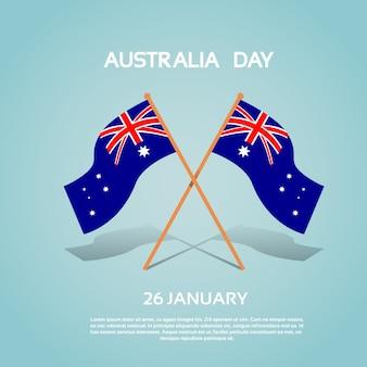 Australia nacional dos banderas agitando ilustración vectorial plana
