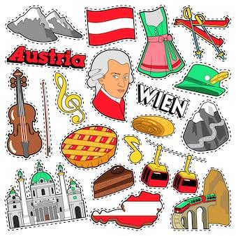 Austria travel scrapbook pegatinas, parches, insignias para impresiones con alpes, pastel y elementos austriacos. doodle de estilo cómico
