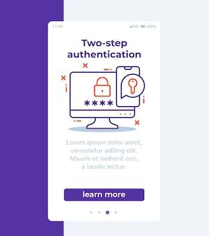 Autenticación en banner móvil de dos pasos con icono de línea
