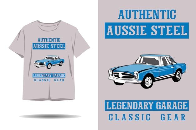 Auténtico diseño de camiseta de ilustración de engranaje clásico de garaje legendario de acero australiano