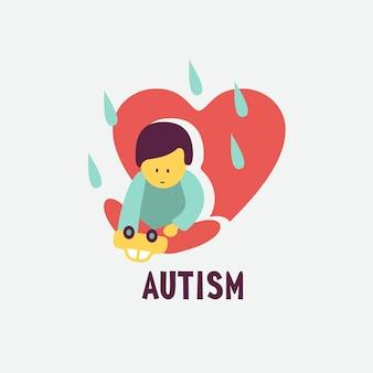 Autismo. signos tempranos del síndrome de autismo en niños. emblema de vector. icono de tea del trastorno del espectro autista de los niños. signos y síntomas del autismo en un niño.