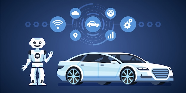 Auto autónomo. coche autónomo con robot e iconos. inteligencia artificial en el camino. ilustración infografía