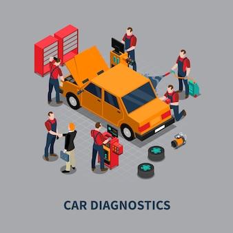 Auto diagnóstico auto centro composición isométrica
