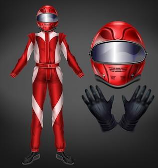 Auto, icono de traje de carreras de automovilismo.