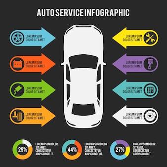 Auto mecánico servicio de automóviles infográfico plantilla con gráficos y elementos de mantenimiento ilustración vectorial