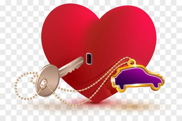 El auto nuevo es clave para el corazón de su amado. cerradura y llave en forma de corazón rojo