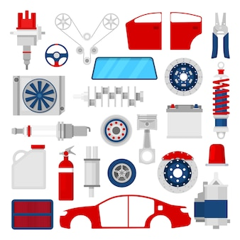 Auto parts set auto service reparación de iconos.