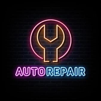 Auto reparación neón logo vector plantilla de diseño letrero de neón