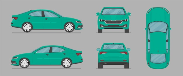 Auto sedán de vector desde diferentes lados