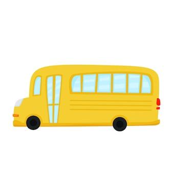 Autobús amarillo de dibujos animados sobre un fondo blanco.