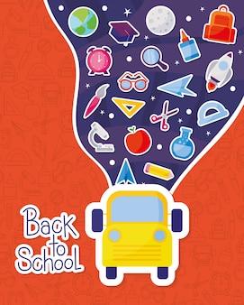 Autobús amarillo y diseño de conjunto de iconos, tema de lección de clase de educación de regreso a la escuela