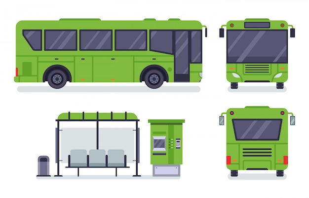 Autobús de la ciudad. parada de transporte público, boletería de autobus y conjunto de ilustración de autobuses