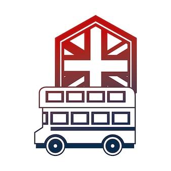 Autobús de cubierta doble de reino unido y la ilustración de vector de bandera