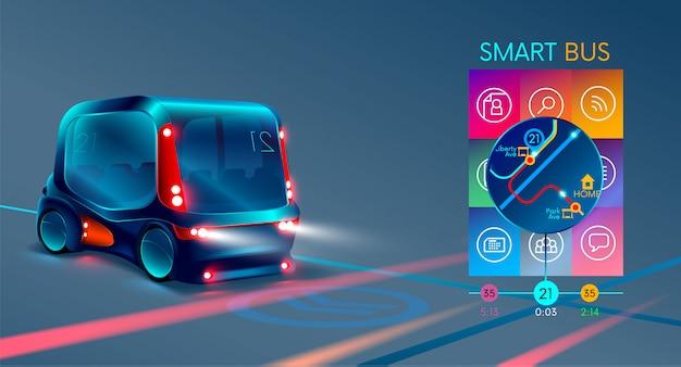 Autobús eléctrico inteligente o minibús autónomo,