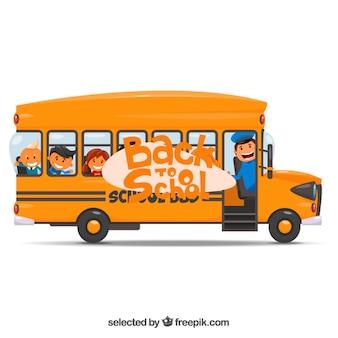 Autobús escolar amarillo ilustración