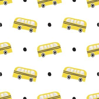 Autobús escolar dibujado a mano sin fisuras con patrón de punto negro sobre fondo blanco