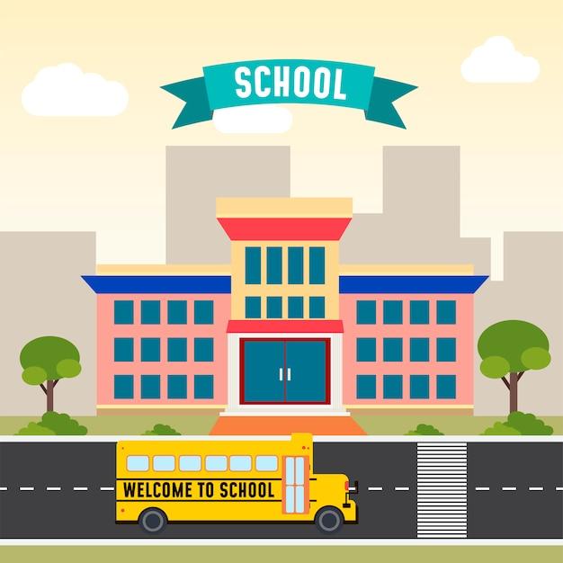 Autobús escolar frente a la escuela