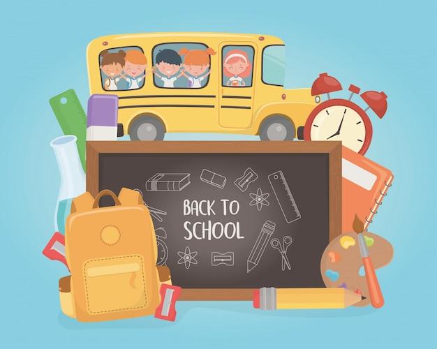 Autobús escolar con grupo de niños y suministros.