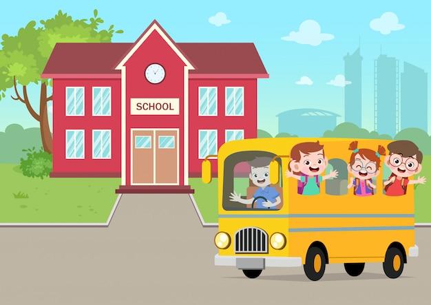 Autobús escolar en la ilustración de vector de escuela