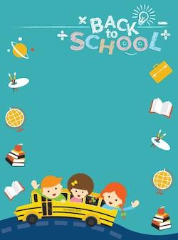 Autobús escolar con marco de iconos de educación y estudiantes