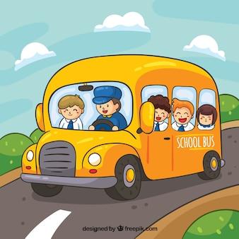 Autobús escolar y niños dibujado a mano con estilo de dibujos animados