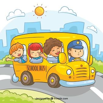 Autobús escolar con niños dibujado a mano