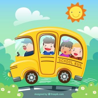 Autobús escolar y niños de dibujos animados con diseño plano