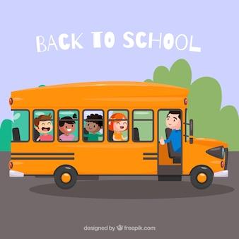 Autobús escolar con niños con estilo de dibujos animados