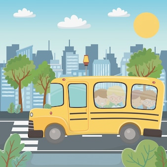 Autobús escolar y niños