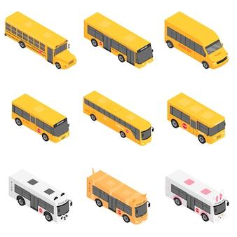 Autobús escolar de nuevo los iconos de los niños conjunto