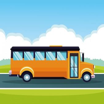 Autobús escolar pasando por caricatura
