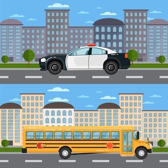 Autobús escolar y patrullero en paisaje urbano